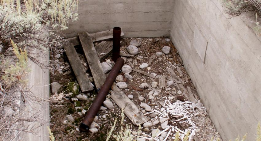 Abandoned well casing on site