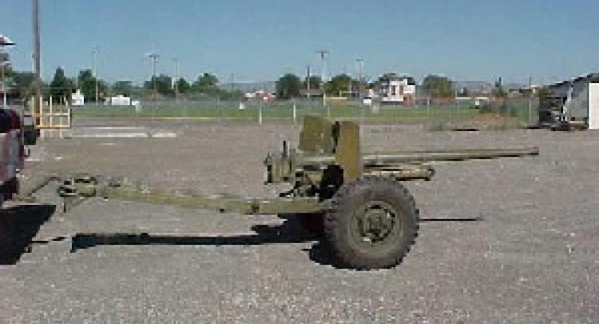 1944 International Harvester 57MM anti-tank gun before restoration.