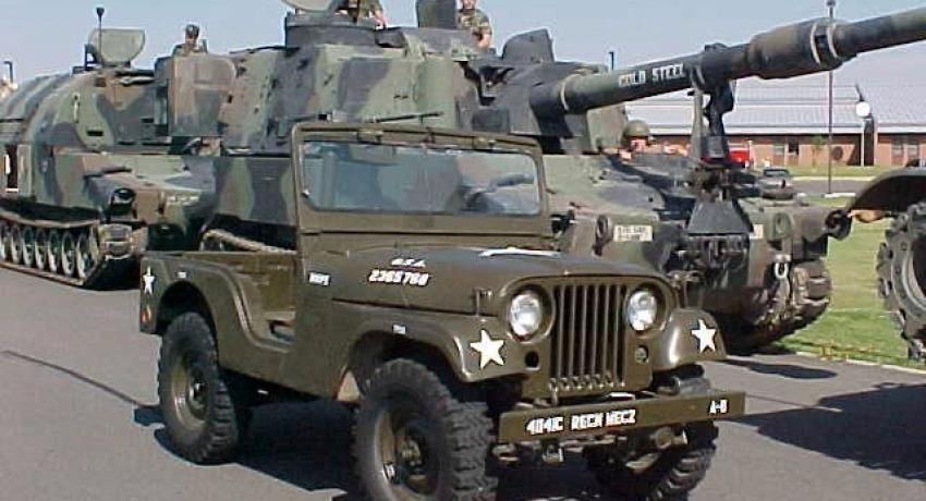 1959 M-38A1 ready for the local parade along with the National Guards Howitzers.